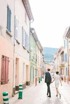 Provence city pastel sky destination love first look fashion style bride groom | Amber + Alexis | South of France Destination Wedding | Jenn Emerling Weddings
