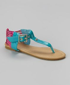 Look what I found on #zulily! Turquoise & Purple Caged Heel Sandal by Chatties #zulilyfinds
