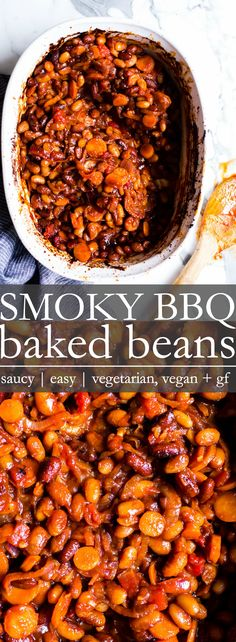 Smoky BBQ Baked Beans are slow cooked, brown sugar sweetened, saucy and spicy! Make this vegetarian baked beans recipe from dried or already cooked beans, whatever fits your schedule. Vegetarian Bean Recipes, Easy Bean Recipes, Vegetarian Baked Beans, Baked Bean Recipes, Sugar Free Baked Beans Recipe, Gluten Free Baked Beans, Spicy Vegetarian Recipes, Beans Recipes, Free Recipes
