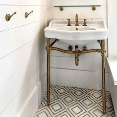 Powder Room – Mosaic White Marble Floor, Shiplap Walls and Ceiling. Waterworks Bathroom, Shiplap Bathroom, Bathroom Floor Tiles, Bathroom Interior, Small Bathroom, Downstairs Bathroom, Bathroom Ideas, Bathroom Marble, Tile Floor