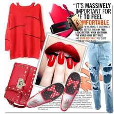 Red Mood by stylemoi-offical on Polyvore featuring moda, Disney, Nails Inc., Katie and stylemoi