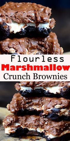 Flourless Marshmallow Crunch Brownies - Recipes to Try - Desserts - Dessert Recipes Desserts Sains, Köstliche Desserts, Healthy Dessert Recipes, Gourmet Recipes, Food Deserts, Cookie Dough Cake, Chocolate Chip Cookie Dough, Chocolate Chips, Chocolate Cake