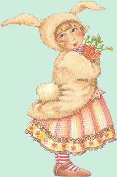 A little bunny and her carrots... (art by Mary Engelbreit, Easter illustration)