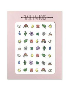 Temporary nail tattoos illustrated by Hartland Brooklyn that include a cloud with a lightning bolt, rainbow, moon, butterfly, leaf, sun, two flowers, cactus, raindrop, four leaf clover and a mountain.
