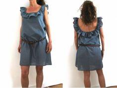 Patron de couture à télécharger avec la vidéo du montage - Robe à col à volant pour femme Downloadable pattern with assembly video