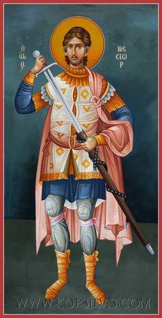 Nestor of Thessalonika Byzantine Art, Byzantine Icons, Religious Icons, Religious Art, Saints And Soldiers, Art Icon, Orthodox Icons, Ikon, Religion