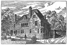 Engraving of the Main Lodge and office at the Cemetery.  Ca. 1886.