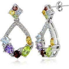 Glitzy Rocks Sterling Silver Multi Gemstones and White Topaz Open... ($25) ❤ liked on Polyvore featuring jewelry, earrings, blue, teardrop earrings, gemstone earrings, butterfly earrings, long dangle earrings and sterling silver earrings