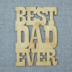 Cherry Wood Cutout Card Best Dad Ever
