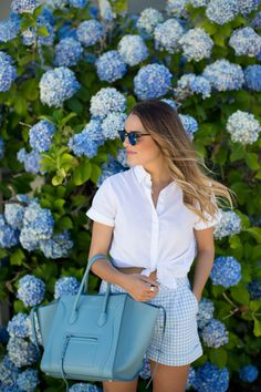 Gingham shorts, THE Bag, & could those hydrangeas be more beautiful? I think not!