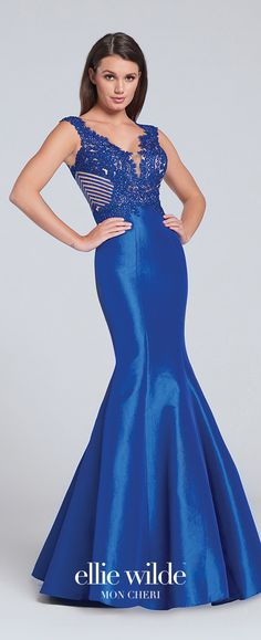 Prom Dresses 2017 - Ellie Wilde for Mon Cheri - royal blue sleeveless mermaid prom dress with triple keyhole back - Style No. EW117047