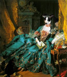 """Still part of the large project of Bella's Dog Art, here are some manipulations that I would classify as """"classical"""", where classical works of art are used for Bella's little adventures in """"once upon a time""""."""