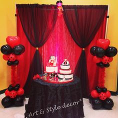 Betty boop theme party. Cake area decor