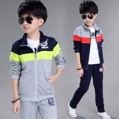 Outdoor Running Sports Clothes School Boys Teenage Clothing Set Jacket + Pants 2 Pcs Children Tracksuit Kids Jogging Suit H311 #Affiliate