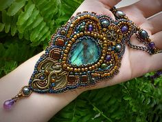 Mystery  Necklace Bead Embroidery Art by JewelryElenNoel on Etsy, $193.00