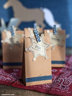 DIY Denim Kraft Western Gift Bags