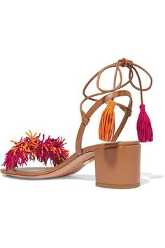 Aquazzura - Wild Thing Fringed Suede And Leather Sandals - Light brown - IT35.5