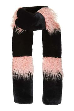Give your cold-weather accessories a luxe feel, starting with this black faux fur scarf with pink panels. Team with a puffer jacket for a statement look. #Topshop