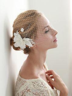 Flower face veil, bandeau birdcage Veil. french veil, russian veil, wedding veil, bridal veil  - style 314