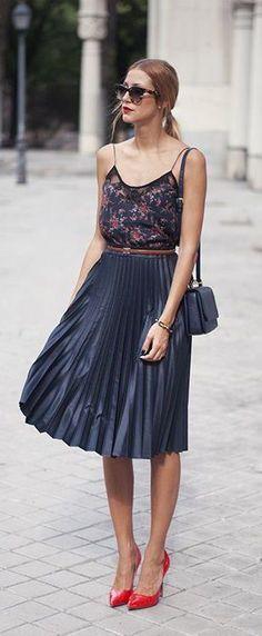 Cupro Skirt - Ciel dorage by VIDA VIDA Hot Sale Cheap Price Cheap Best Seller nqjcFc