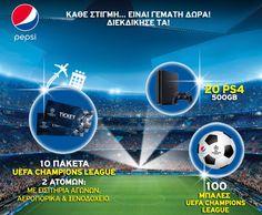 Διαγωνισμός «Pepsico HBH Ε.Π.Ε.» με δώρο εισιτήρια UEFA Champions League, κονσόλες PS4, μπάλες ποδοσφαίρου (130 νικητές)! - https://www.saveandwin.gr/diagonismoi-sw/diagonismos-pepsico-hbh-e-p-e-me-doro/