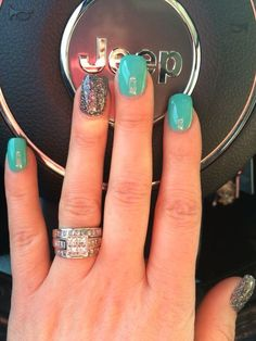 ANC nails turquoise and multi color glitter, fall nail colors gel polish nail design