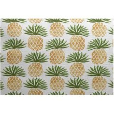 Simply Daisy, Pineapple Stripes, Geometric Print Indoor/Outdoor Rug, Green