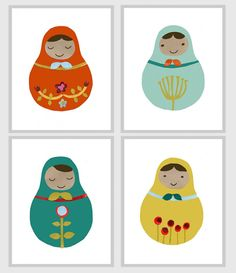 Nesting dolls would be cute ornaments made with felt. (Cute nesting dolls prints.)