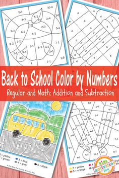 Back to School Color by Numbers!  Kids will love these free math and number printables! Color by numbers are so fun!  http://kidsactivitiesblog.com/56602/color-by-numbers