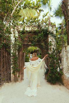 "Bohemian Outdoor Wedding, Hippie Off the Shoulder Silk Wedding Gown - ""Casablanca"" by Daughters of Simone"