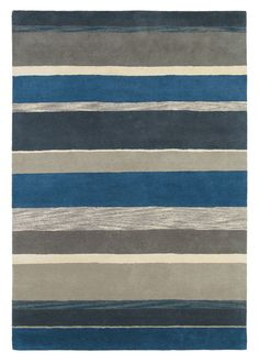 Ceylon Charcoal Indigo Small Rug - Sanderson Rugs - A vibrant rug with varying width stripes, shown here in blues, greys and cream. This is a hand tufted, new wool rug. Available in 3 sizes. Living Room Interior, Rugs In Living Room, Boys Room Decor, Small Rugs, Rugs Online, Modern Rugs, Soft Furnishings, Color Themes, Contemporary Furniture