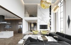 project B on Behance High Ceiling Living Room, Living Room Modern, Home And Living, Living Room Designs, Living Room Decor, Dream House Interior, Home Interior Design, Interior Architecture, Bedroom Layouts