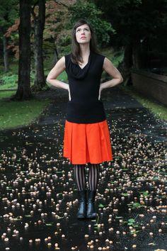 70s Orange polyester pleated skirt medium by CedarBelle on Etsy