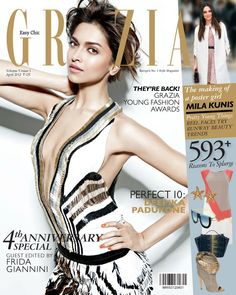 Deepika Padukone in Gucci SS'12 on the cover of GRAZIA India's 4th anniversary issue