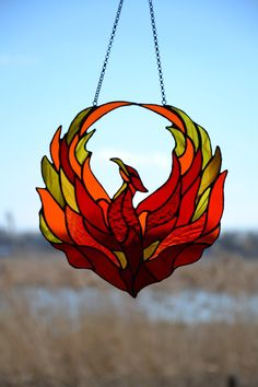 Firebird Stained glass suncatcher Window hanging Flame suncatcher Phoenix – Fashion Trends To Try In 2019 Stained Glass Birds, Stained Glass Suncatchers, Stained Glass Designs, Stained Glass Panels, Stained Glass Projects, Stained Glass Patterns, Mosaic Patterns, Celtic Stained Glass, Leaded Glass