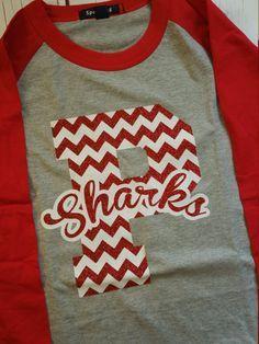 Baseball Tee-Custom Chevron Team School Shirt-Large Mascot Letters Chevron- Custom Item - pinned by pin4etsy.com