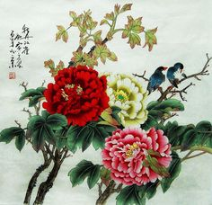 original  painting oriental art chinese art -peony with birds