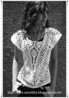 Hairpin lace and pinapple top: linda blusa