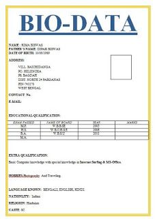6 Simple biodata format for job application - All contracts in 1 place Resume Format Examples, Sample Resume Format, Sample Resume Templates, Rental Agreement Templates, Best Resume Template, Contract Agreement, Resume Format Free Download, Biodata Format Download, Job Application Sample