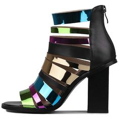 Zip Colorful Straps Chunky Heel Sandals Black (17.240 HUF) ❤ liked on Polyvore featuring shoes, sandals, black zipper shoes, chunky heel shoes, wide heel sandals, black sandals and zipper shoes