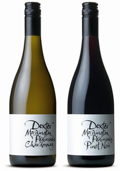 Dexter Chardonnay and Dexter Pinot Noir  (label design by The Collective and English calligrapher Ruth Rowland)