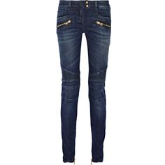 Balmain Moto-style distressed low-rise skinny jeans ($1,065) ❤ liked on Polyvore featuring jeans, pants, blue, destroyed denim skinny jeans, stretch jeans, ripped blue jeans, destroyed skinny jeans and blue jeans