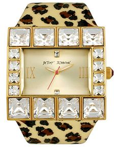 Betsey Johnson Watch, Women's Leopard Printed Patent Leather