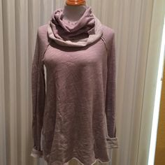 NWT Free People H/L Cowl Neck TODAY Buy ONLY Light Lavender, Raw Edges, Cowl is large and can be worn as Hoodie! Adorable! Selling on FP Website for $88.00 Free People Tops Sweatshirts & Hoodies