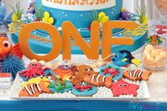 Finding Nemo birthday party cookies! See more party planning ideas at CatchMyParty.com!