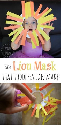 Easy paper plate lion mask craft that toddlers (and older kids) can make. Rawr!! ~ Danya Banya