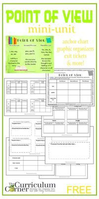 Point of View Mini-Unit Point of View in Reading Mini-Unit FREE includes graphic organizers, exit tickets, anchor chart & lessons Reading Lessons, Reading Strategies, Reading Skills, Teaching Reading, Reading Comprehension, Authors Point Of View, 4th Grade Ela, Grade 3, Sixth Grade