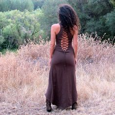 Nienna Dress With Open Back In Brown, hippie dress, gypsy, sexy, elf, elven, elvish, fairy, Bohemian Princess. $90.00, via Etsy.
