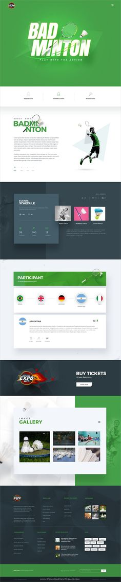 Expo is clean and modern design #PSD template for multipurpose #badminton #sports events website with 18+ layered PSD pages download now..