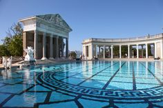 Hearst Castle Pool - I have visited Hearst Castle. I'd compare it to visiting some of the royal palaces in England. I think the elevated hilltop view over the PCH and coastline kills the views from the euro castles! Swimming Pool Designs, Swimming Pools, Photo Art Gallery, Luxury Pools, Water Element, Vacation Places, Cool Pools, Greece Travel, Water Features